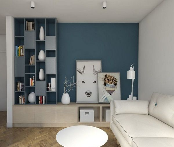 d co salon mur de couleur vivant bois brun gris bleu canap blanc. Black Bedroom Furniture Sets. Home Design Ideas