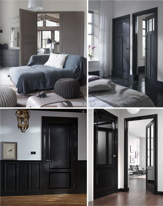 d co salon peindre ses portes en noir et gris. Black Bedroom Furniture Sets. Home Design Ideas
