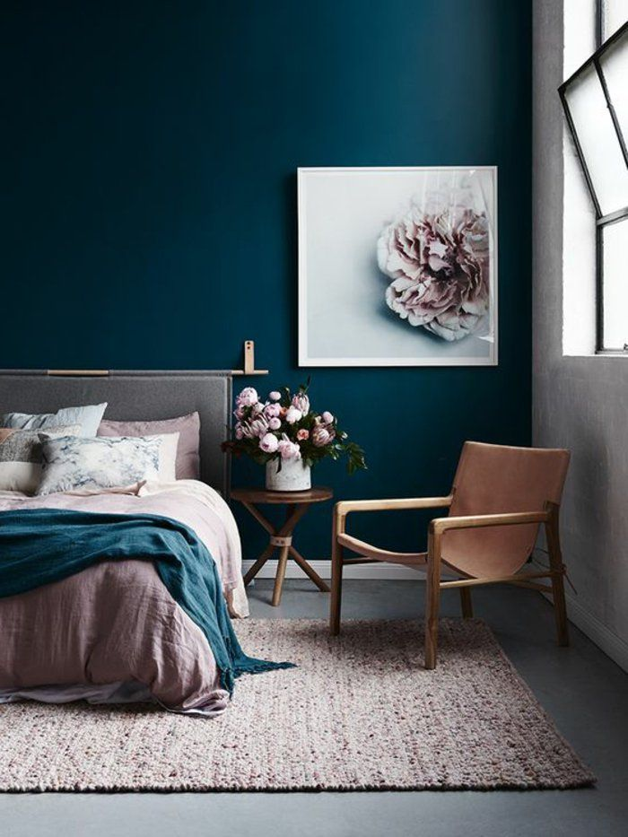 d co salon peinture glyc ro chambe coucger avec couleur de mur bleue et d co chambre. Black Bedroom Furniture Sets. Home Design Ideas