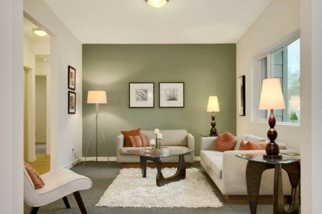 Déco Salon - peinture salon en vert olive grisâtre et blanc ...