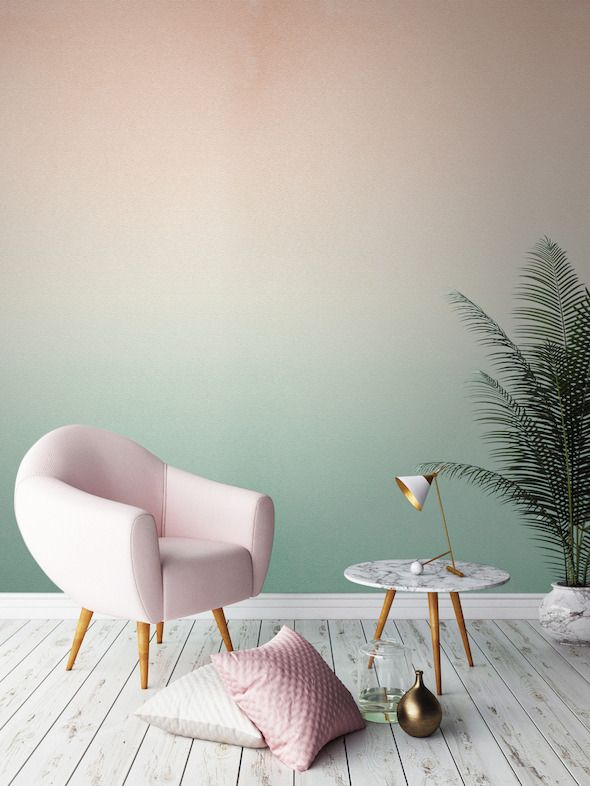 d co salon plante verte couleur pastel degrade mur vert le blog deco de mlc listspirit. Black Bedroom Furniture Sets. Home Design Ideas