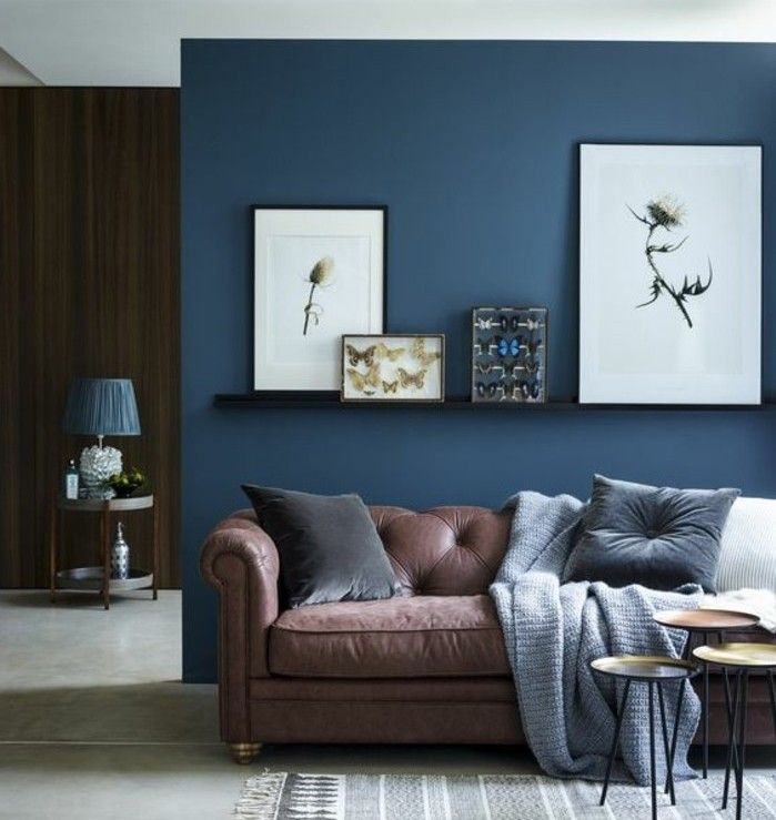 d co salon quelle peinture choisir pour la d co salon couleur mur salon bleu marine d c. Black Bedroom Furniture Sets. Home Design Ideas