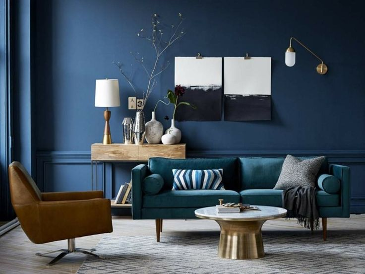 d co salon salon avec mur en bleu canard et canap en bleu p trole source west elm. Black Bedroom Furniture Sets. Home Design Ideas