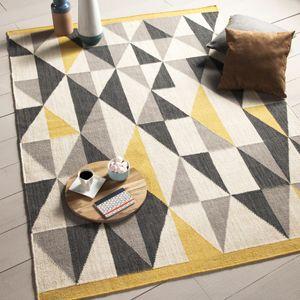 d co salon tapis 100 en laine tiss main losange gris jaune kalmar decoclico. Black Bedroom Furniture Sets. Home Design Ideas