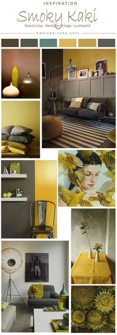d co salon tendance couleur smoky kaki jaune moutarde ocre gris nature vintage. Black Bedroom Furniture Sets. Home Design Ideas