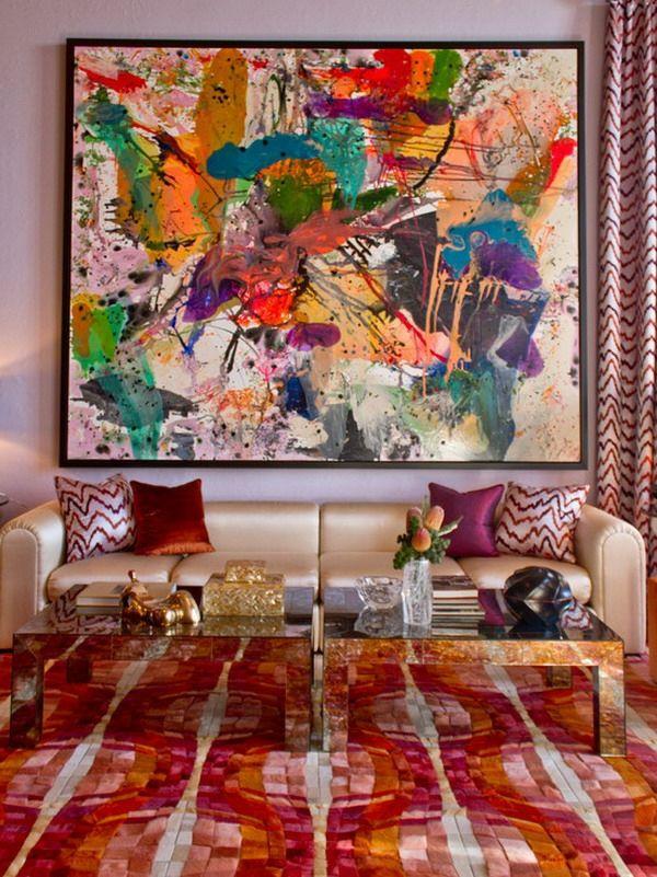 d co salon un tapis joyeux en couleurs tableau abstrait sofas beiges et deux tables recta. Black Bedroom Furniture Sets. Home Design Ideas