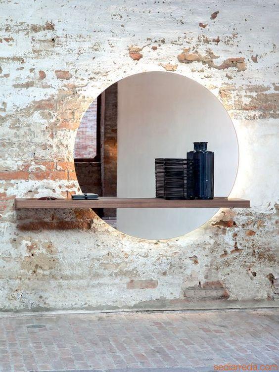 id e d coration salle de bain miroir rond xxl tendance by chiara stella home. Black Bedroom Furniture Sets. Home Design Ideas
