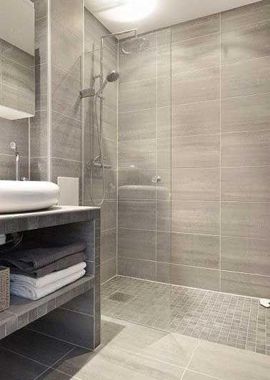 Idée décoration Salle de bain - Carrelage imitation parquet et grès ...