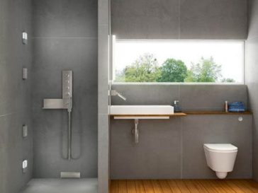 id e d coration salle de bain salle de bains grise carrelage mural mosaique en gris et blanc. Black Bedroom Furniture Sets. Home Design Ideas