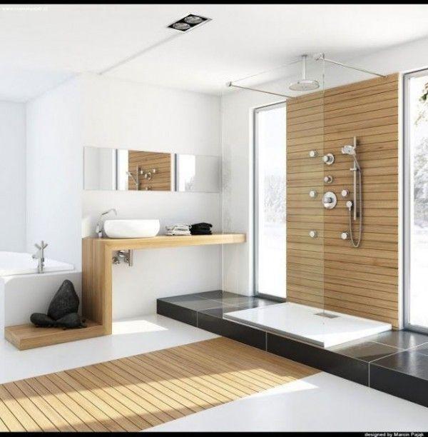 Description grande salle de bains moderne mélange de bois et de blanc