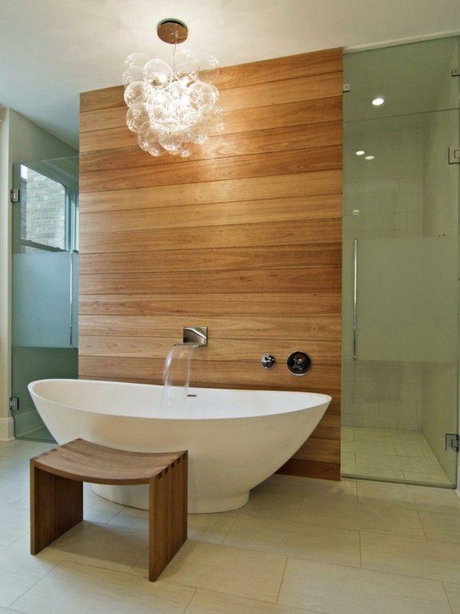 Idée décoration Salle de bain - lambris bois, suspension design ...