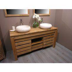 idée décoration salle de bain - magnifique meubles en teck avec ... - Meuble Salle De Bain Pierre Naturelle