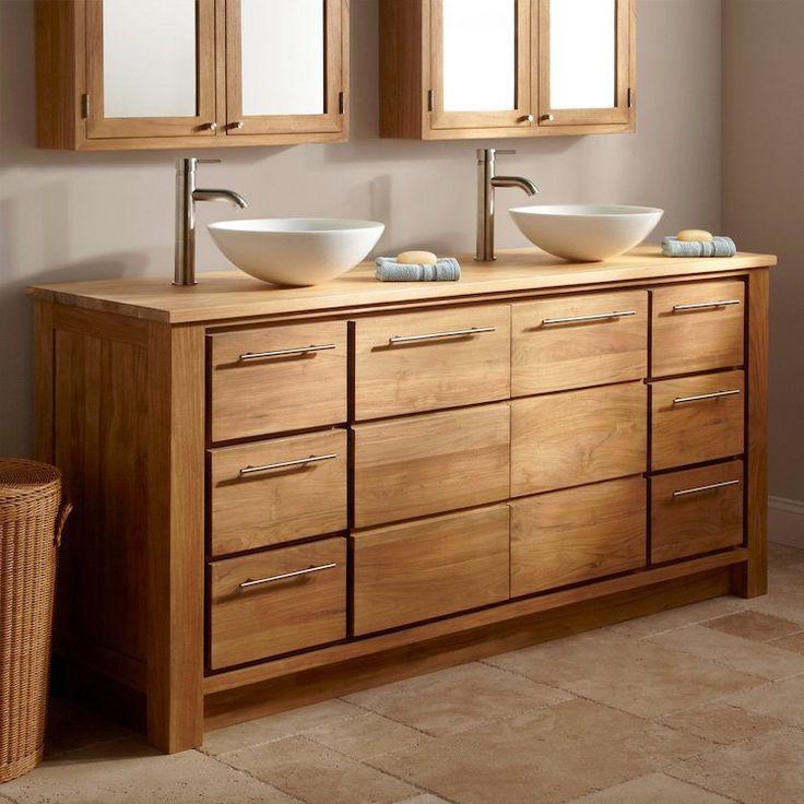 Id e d coration salle de bain meuble salle de bain bois - Meuble salle de bain avec vasque a poser ...