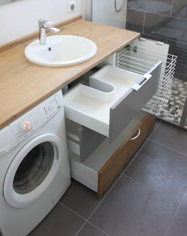 Id e d coration salle de bain panier linge dans meuble - Meuble de cuisine dans salle de bain ...