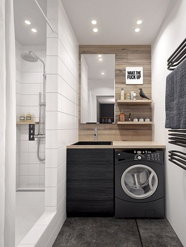 Idée décoration Salle de bain - Petite salle de bain avec machine à ...