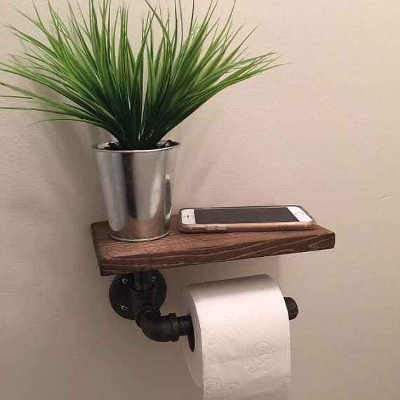 id e d coration salle de bain porte papier toilette industriel avec tag re par. Black Bedroom Furniture Sets. Home Design Ideas