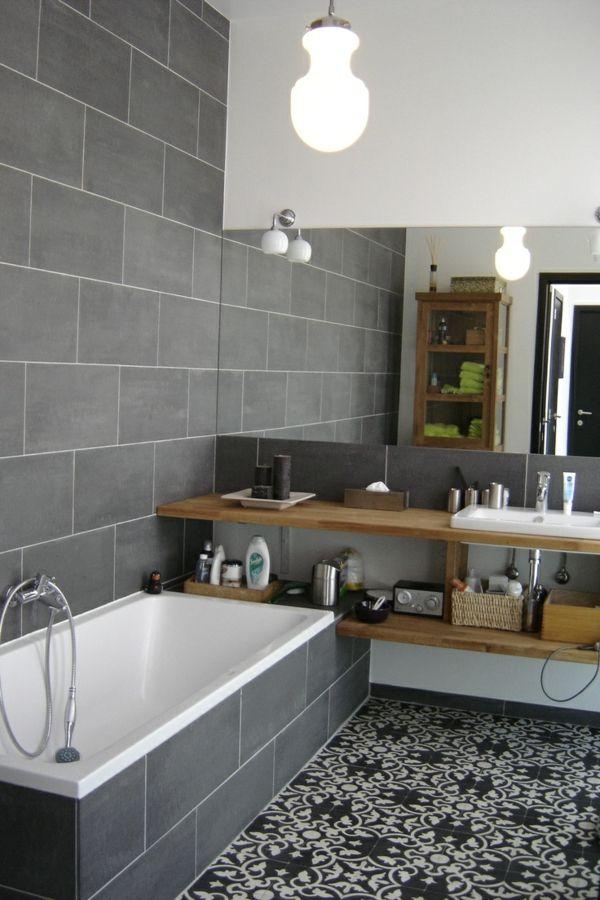 idée décoration salle de bain - salle de bain gris et jolis ... - Salle De Bain Contemporaine Grise