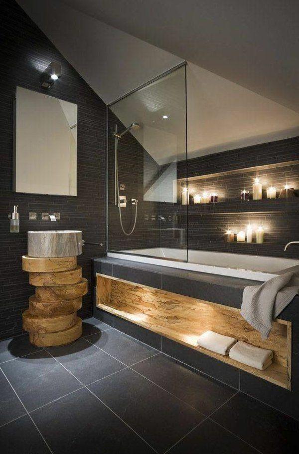 idée décoration salle de bain - salle de bains grise, paroise de ... - Salle De Bain Gris Et Bois