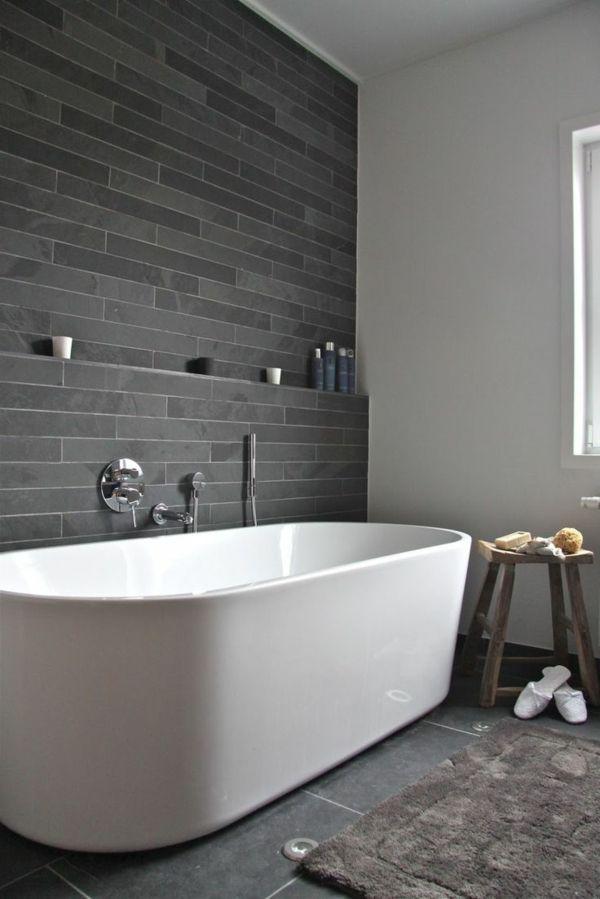 Id e d coration salle de bain salle de bains grise un for Baignoire noire et blanche