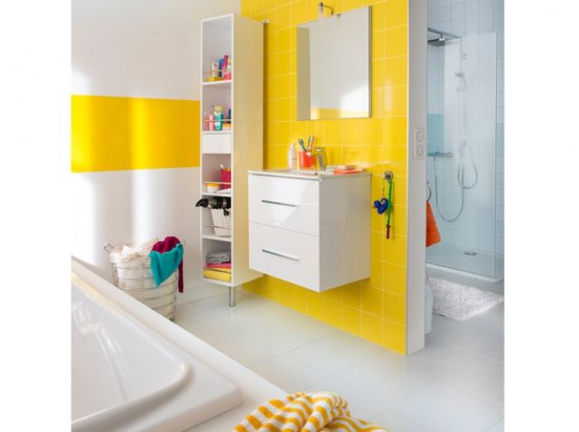 Idée décoration Salle de bain - Salle de bains jaune pour enfant ...
