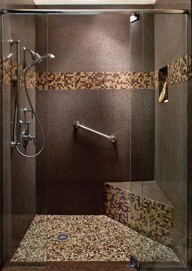 id e d coration salle de bain sol granit et frise en mosa que pour la d co d une douche. Black Bedroom Furniture Sets. Home Design Ideas