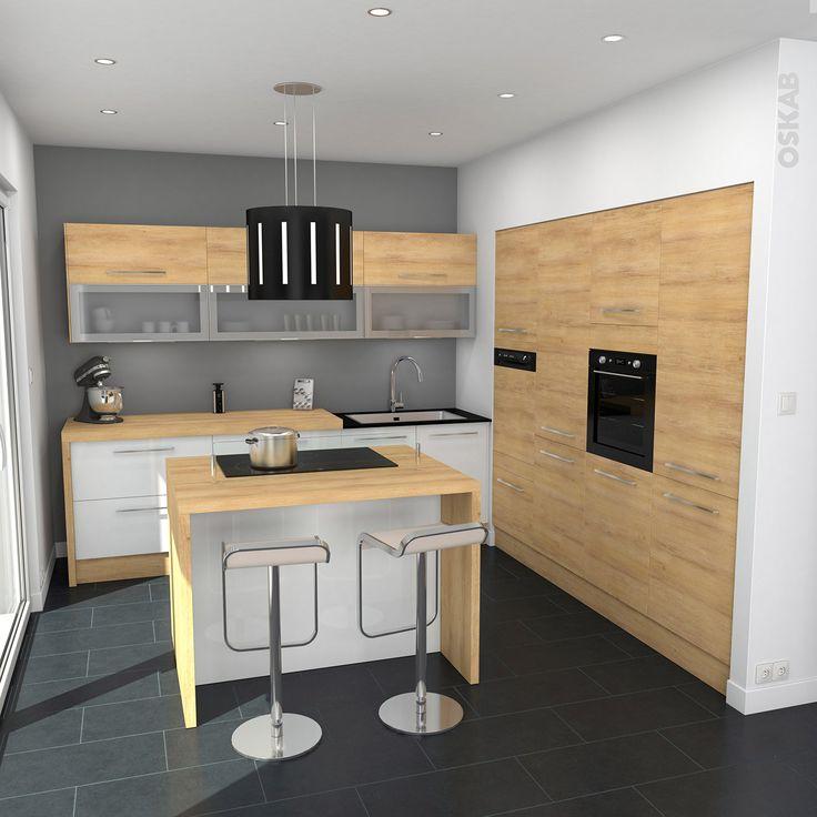 Id e relooking cuisine cuisine blanche et bois ouverte for Implantation cuisine ouverte