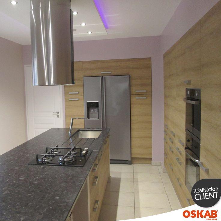 id e relooking cuisine cuisine bois moderne en l avec ilot central dans une pi ce tout en. Black Bedroom Furniture Sets. Home Design Ideas