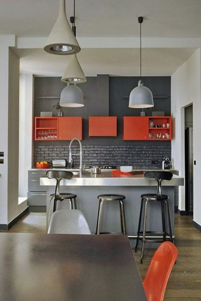 cuisine grise rouge lustre gris modele de cuisine moderne meubles de cuisine listspirit. Black Bedroom Furniture Sets. Home Design Ideas
