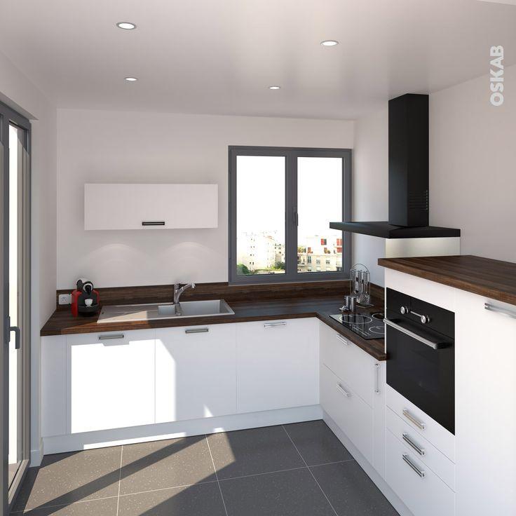id e relooking cuisine cuisine moderne blanche et bois d cor ch ne vieilli pour le plan de. Black Bedroom Furniture Sets. Home Design Ideas