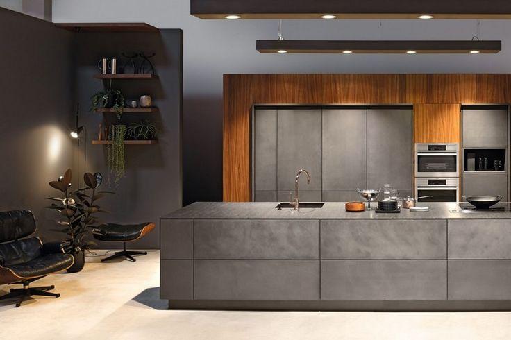 Id e relooking cuisine mod le de cuisine moderne en b ton parement bois fauteuil relax en - Idees de relooking cuisine moderne ...