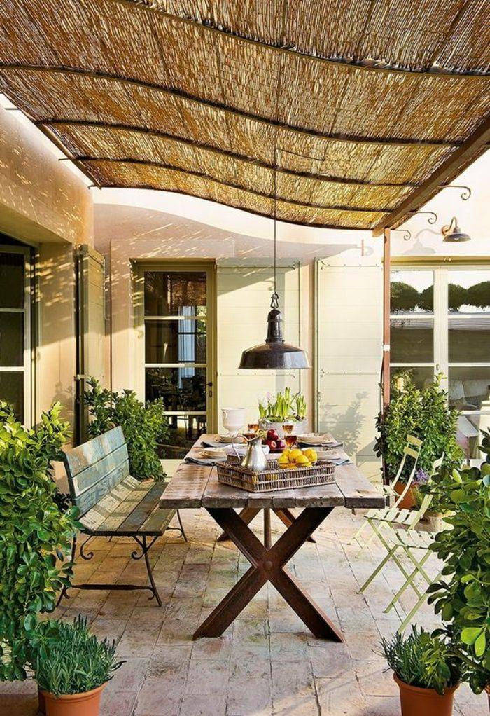 Idée relooking cuisine - modele de terrasse couverte avec plafond ...
