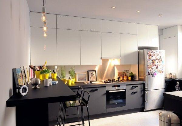 id e relooking cuisine nice id e relooking cuisine meubles bas fonc s ou gris meubles hauts. Black Bedroom Furniture Sets. Home Design Ideas