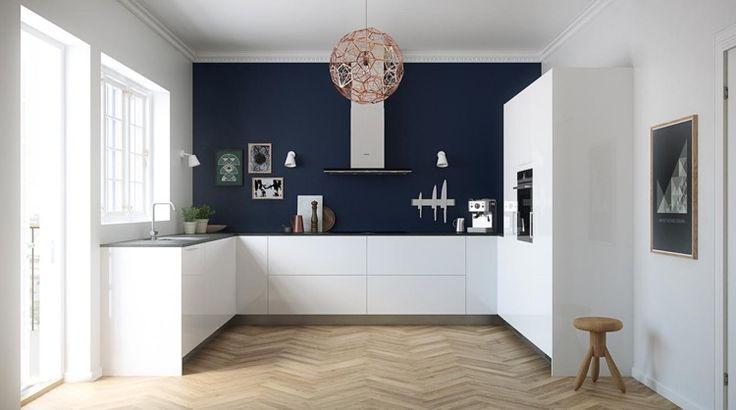 id e relooking cuisine peinture de cuisine bleu marine associer aux armoires blanches un. Black Bedroom Furniture Sets. Home Design Ideas