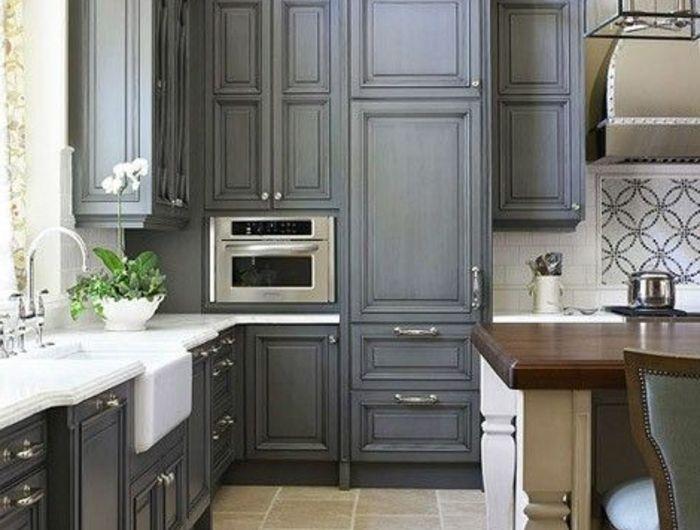 Id e relooking cuisine petite cuisine ikea cuisine grise for Couleur mur cuisine grise