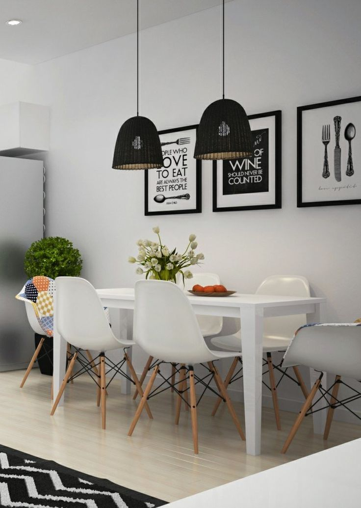 id e relooking cuisine salle manger blanche avec table rectangulaire chaises eames blanches. Black Bedroom Furniture Sets. Home Design Ideas