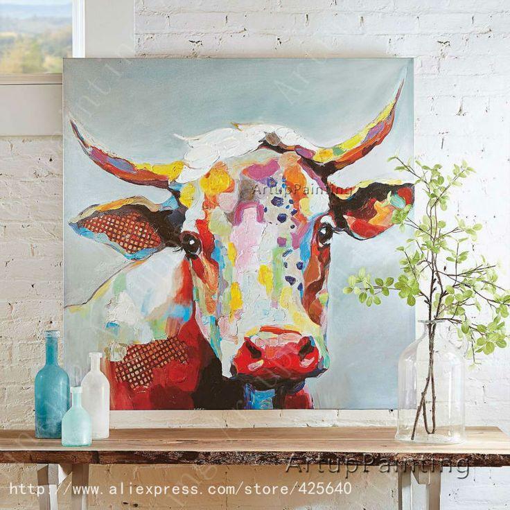 id e relooking cuisine vache peinture l 39 huile sur le mur de toile animaux peintures pour mur. Black Bedroom Furniture Sets. Home Design Ideas