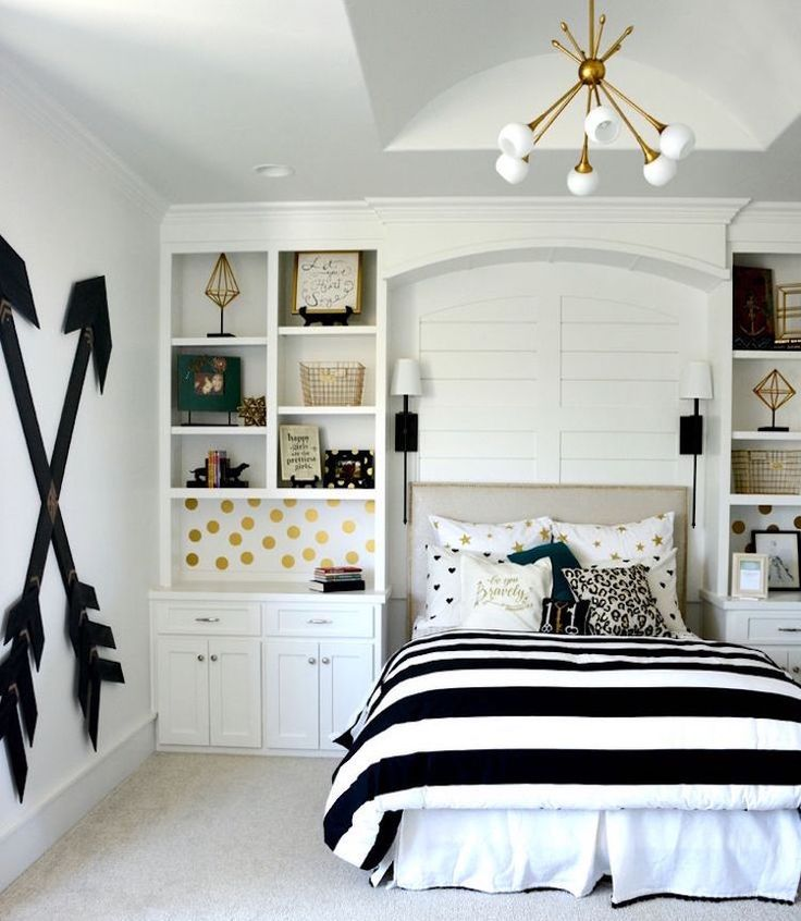 relooking et d coration 2017 2018 chambre de fille adolescente noir et blanc et id es de. Black Bedroom Furniture Sets. Home Design Ideas