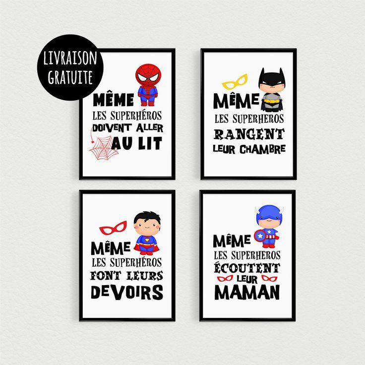 Relooking et d coration 2017 2018 promo lot de 4 for Decoration chambre super heros