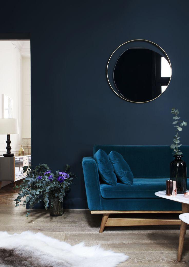 Déco Salon - Canapé 210 velours bleu canard Red Edition Miroir en ...