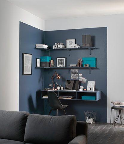 D co salon coin bureau mis en lumi re par 1 couleur diff rente chambre ado coin - Idee deco bureau maison ...