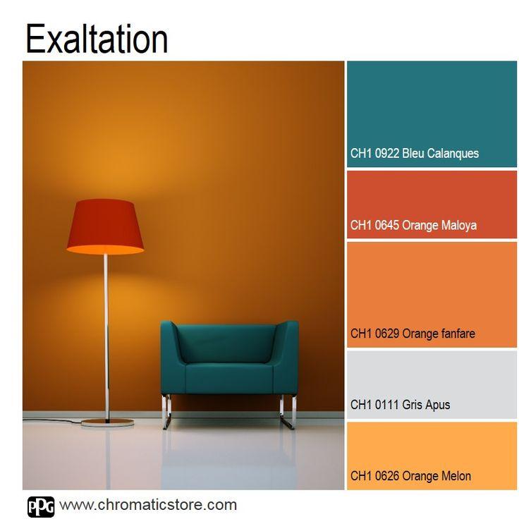 Salon Mur Orange Et Gris