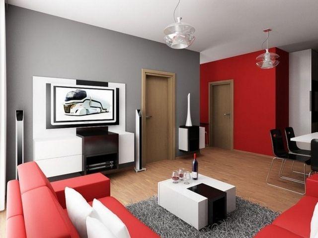 Déco Salon - déco salon canapé rouge table basse couleur blanche mur ...