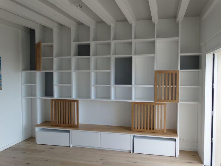 d co salon fabrication d 39 une biblioth que en m dium de. Black Bedroom Furniture Sets. Home Design Ideas