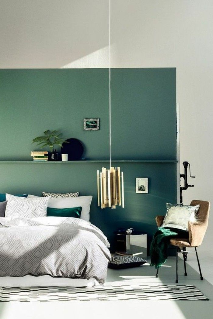 D co salon mur double couleur blnac bleu chambre for Decoration grand mur salon