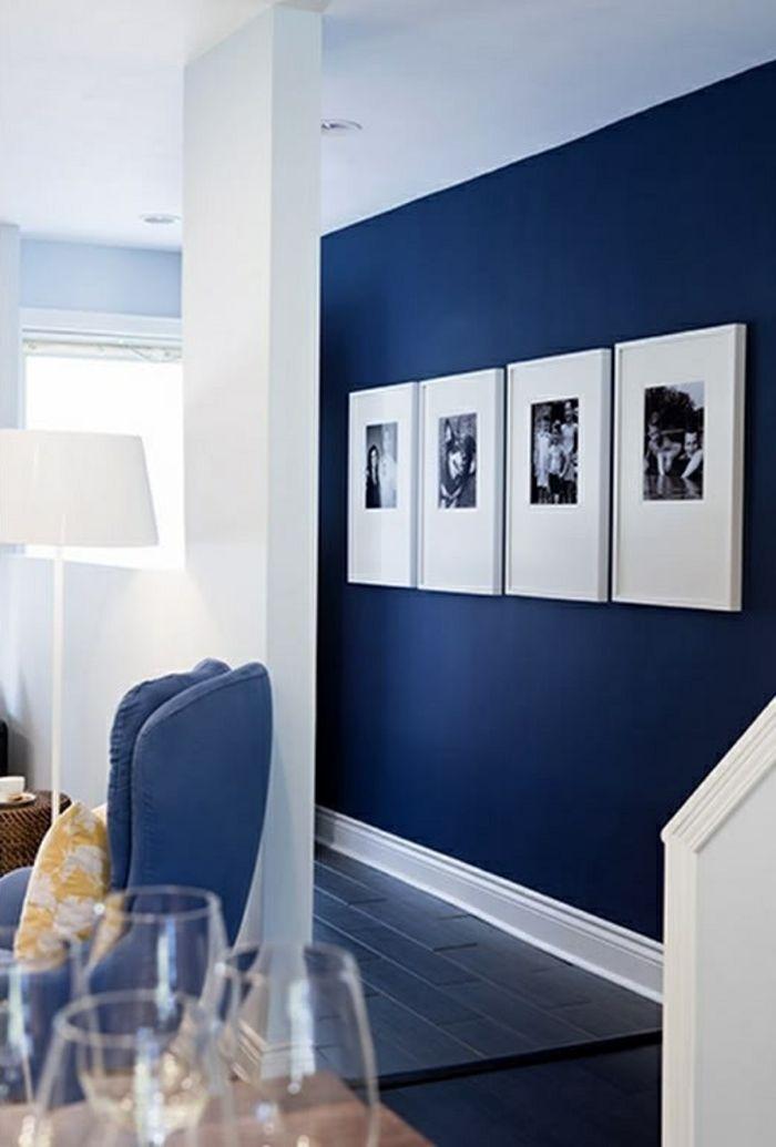 Déco Salon - peinture acrylique murale de couleur bleu fonce ...