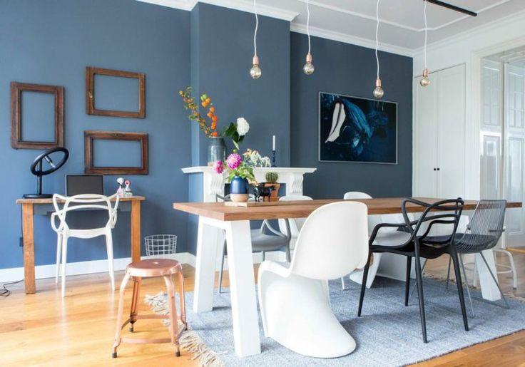 d co salon peinture bleu gris pigeon dans la salle manger clectique avec chaises d pa. Black Bedroom Furniture Sets. Home Design Ideas