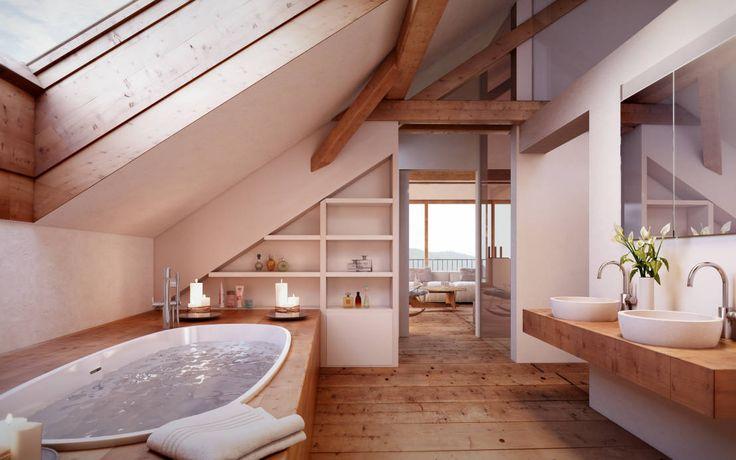 Id e d coration salle de bain badezimmer im dachgeschoss for Deco salle de bain rustique