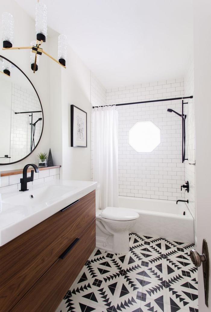 Idée décoration Salle de bain - carrelage blanc brillant, carrelage ...