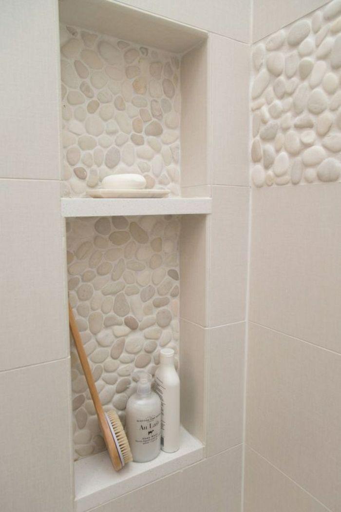Idée décoration Salle de bain - carrelage galet beige pour la salle ...