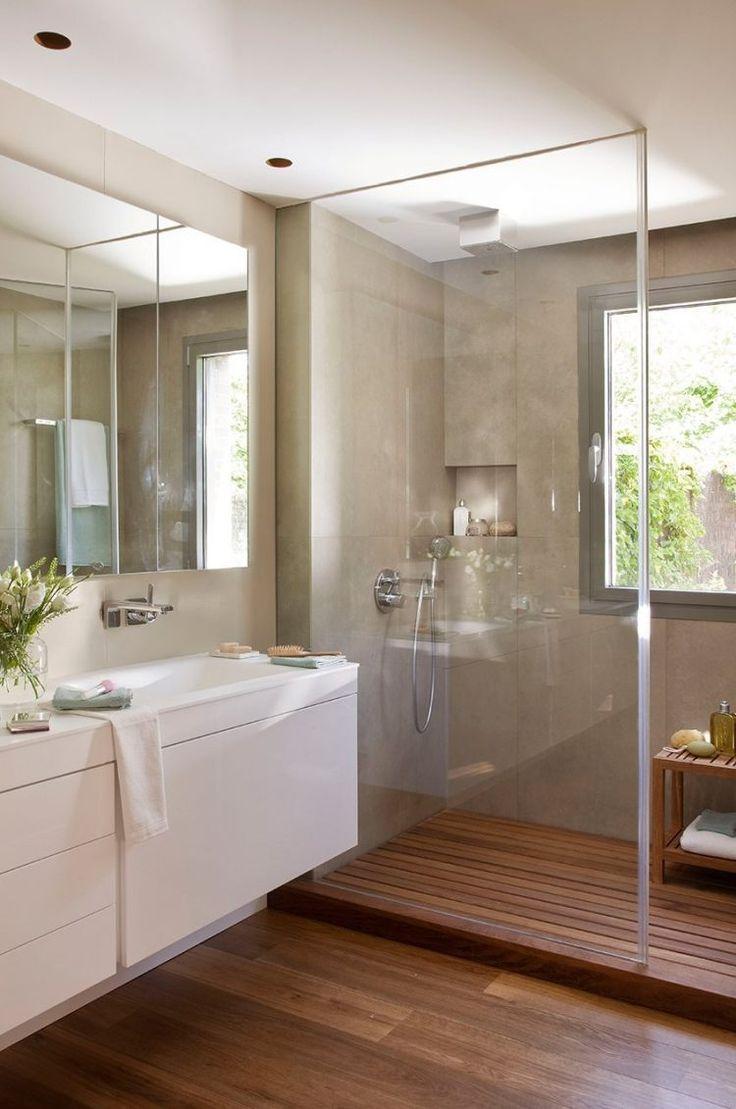Idée décoration Salle de bain - parois-douche-verre-sol-bois ...